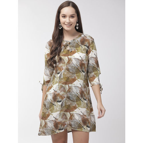 Rue Collection Women Green & White Printed A-Line Dress