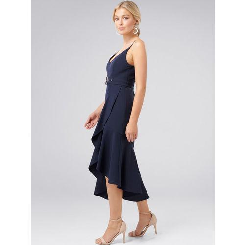 Forever New Women Navy Blue Solid Ruffle Sheath Dress