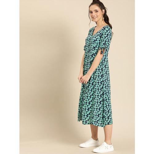 DressBerry Women Sea Green & Navy Blue Printed A-Line Dress