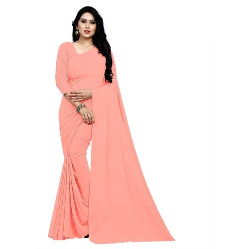 Sidhidata Solid Daily Wear Pure Georgette, Poly Georgette Saree(Pink)