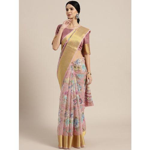 Ratnavati Floral Print Fashion Cotton Linen Blend, Linen Blend Saree(Pink)