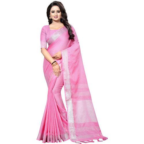 Regolith Designer Sarees Self Design, Striped, Woven Fashion Art Silk, Poly Silk, Jute Blend, Cotton Silk Saree(Pink)