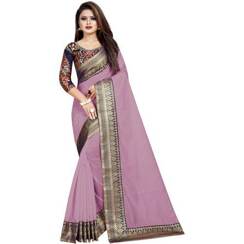 fantasy fab Solid Daily Wear Cotton Silk Saree(Purple)