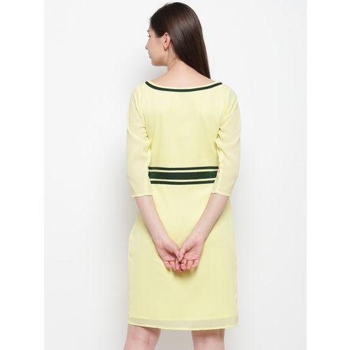 Karmic Vision Women Yellow Solid Sheath Dress