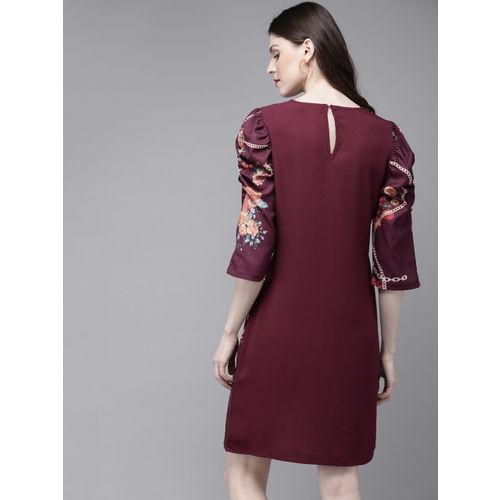 SASSAFRAS Women Burgundy & Green Printed Sheath Dress