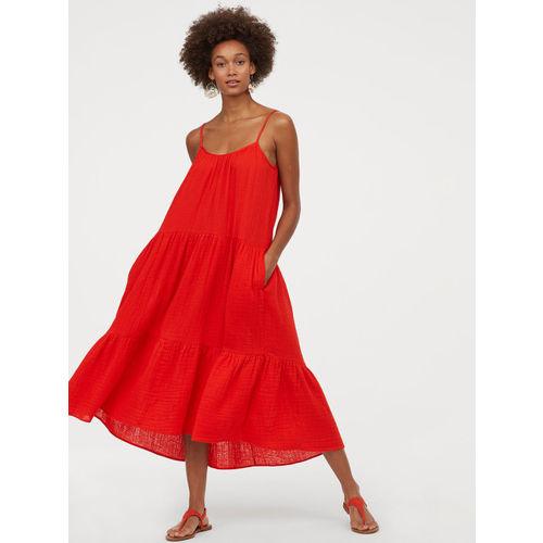 H&M Women Red Calf-Length Cotton Dress