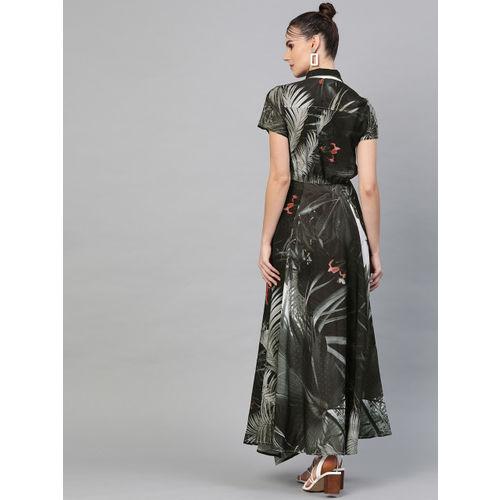 I AM FOR YOU Women Black & Green Printed Maxi Dress