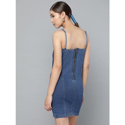 Trend Arrest Women Navy Blue Solid Denim Sheath Dress