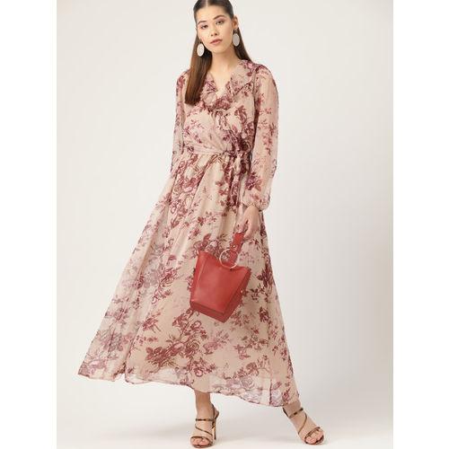 MANGO Women Beige & Brown Floral Print Maxi Dress