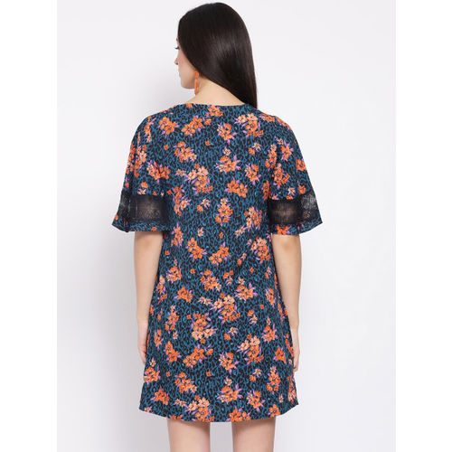 Oxolloxo Women Blue Printed Fit and Flare Dress
