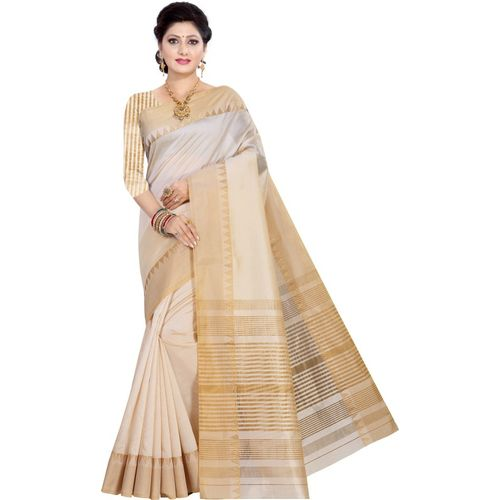 Urbanatee Temple Border, Embellished, Checkered Assam Silk Bhagalpuri Silk, Cotton Blend, Art Silk Saree(Cream)
