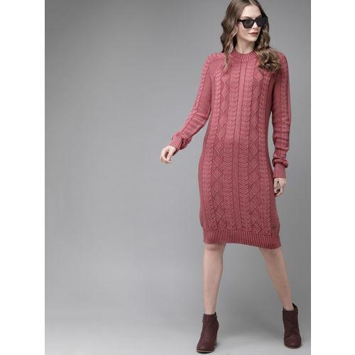 Roadster Women Pink Self Design Knitted Sweater Dress