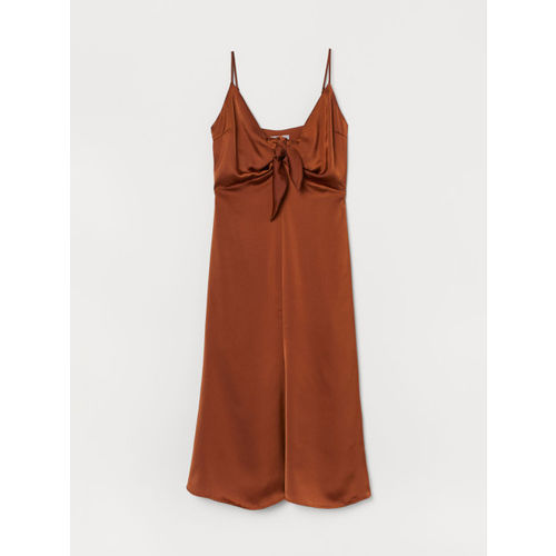 H&M Women Rust Brown Solid Satin Dress with Ties