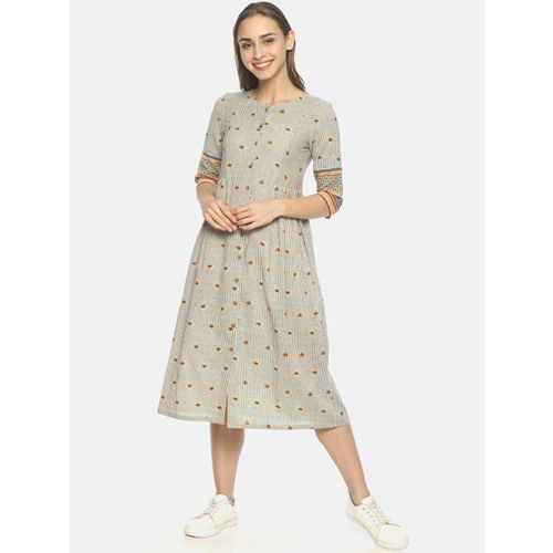 UNTUNG Women Beige & Blue Printed Fit and Flare Dress