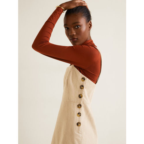MANGO Women Beige Corduroy Solid Pinafore Dress