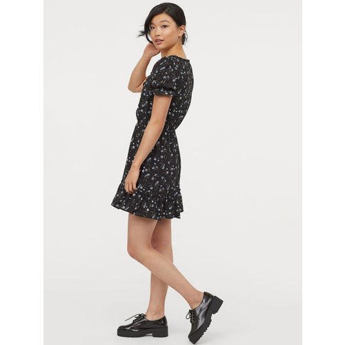 H&M Women Black & Blue Printed Short Dress