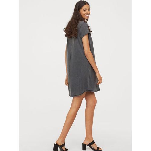 H&M Women Black Short T-shirt Dress