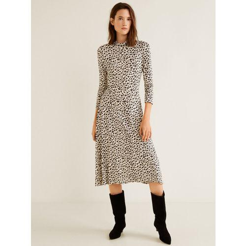 MANGO Women Beige & Black Animal Print A-Line Dress