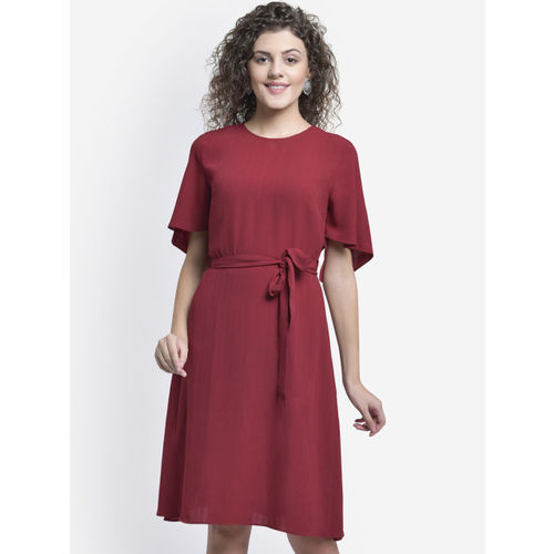 Martini Women Maroon Solid Fit and Flare Dress
