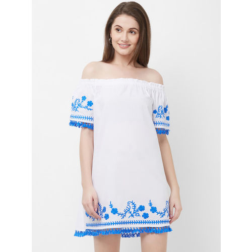 The Beach Company Women White & Blue Embroidered A-Line Dress