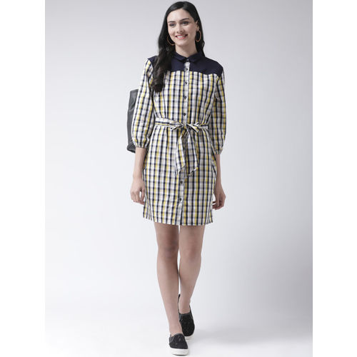 Leo Sansini Women Navy Blue & Yellow Checked Shirt Dress