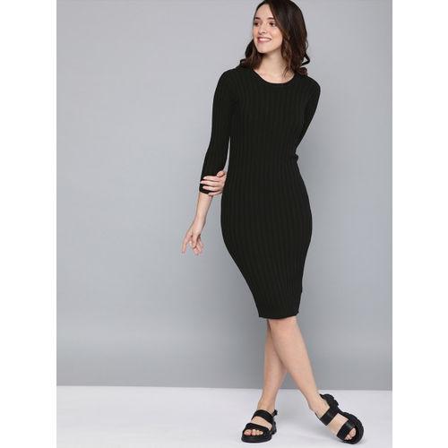 Mast & Harbour Women Black Ribbed Midi Bodycon Dress