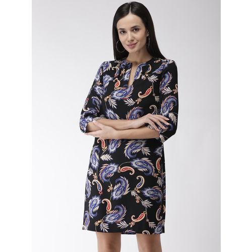 Marks & Spencer Women Black & Blue Printed Shift Dress