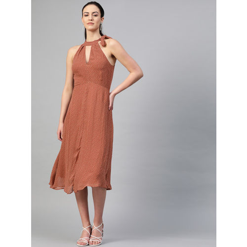 I AM FOR YOU Women Rust Brown & Off White Printed Fit and Flare Dress