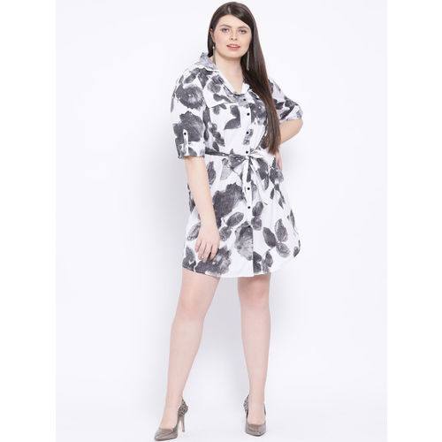 Oxolloxo Women White Printed Fit and Flare Dress
