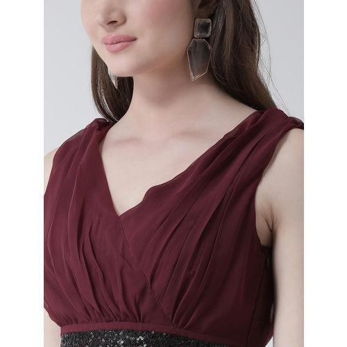 KASSUALLY Women Maroon Solid Empire Dress