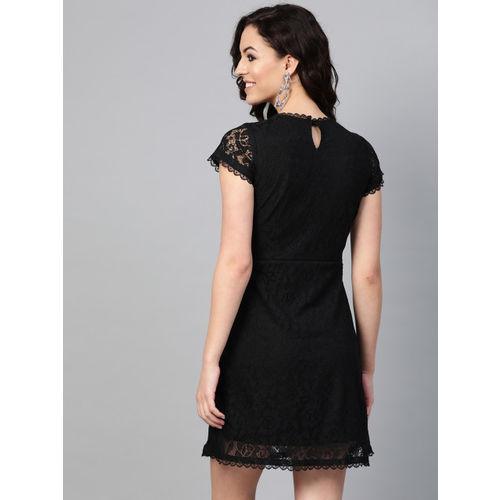 SIRIKIT Women Black Lace A-Line Dress