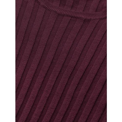 Mast & Harbour Women Burgundy Ribbed Midi Bodycon Dress