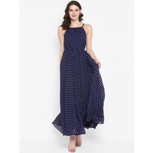 The Vanca Women Navy Blue & White Printed Maxi Dress