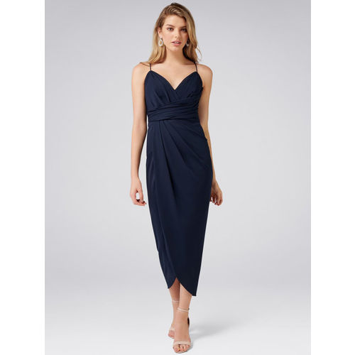 Forever New Women Navy Blue Solid Wrap Dress