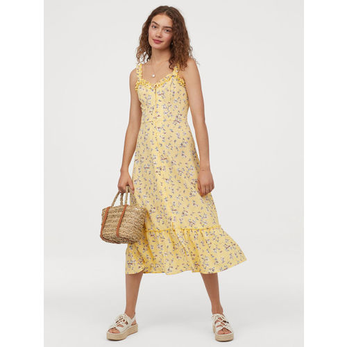 H&M Women Yellow Printed Button-Front Dress