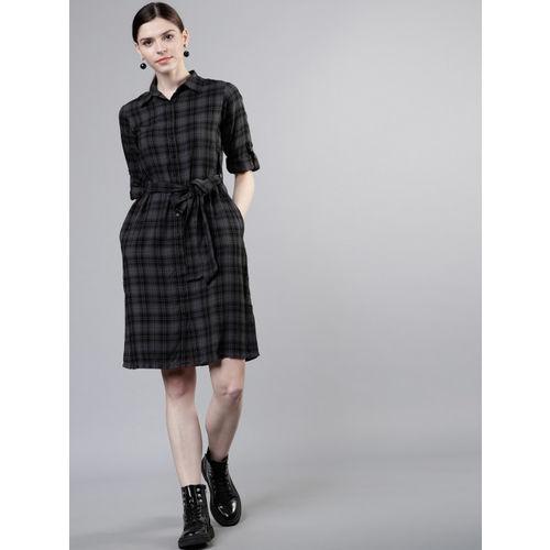 Tokyo Talkies Women Grey & Black Checked Shirt Dress