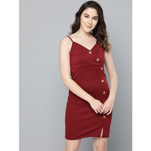 Trend Arrest Women Maroon Solid Sheath Dress