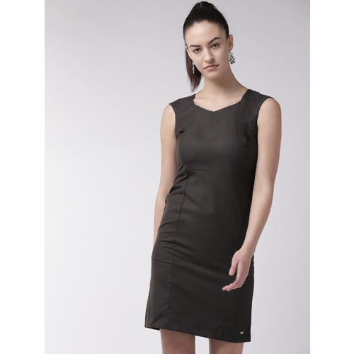 Park Avenue Women Charcoal Grey Solid Sheath Dress