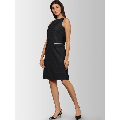 FableStreet Women Navy Blue Solid Sheath Dress