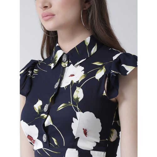 KASSUALLY Women Navy Blue & White Printed Fit and Flare Dress