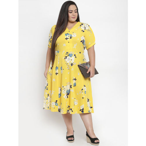 plusS Women Yellow Printed Fit and Flare Dress