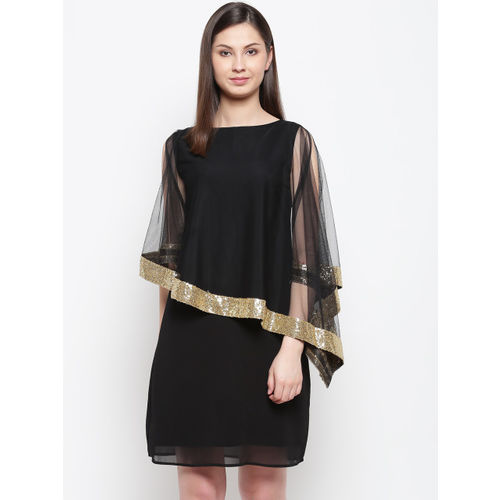 Karmic Vision Women Black Solid Layered A-Line Dress
