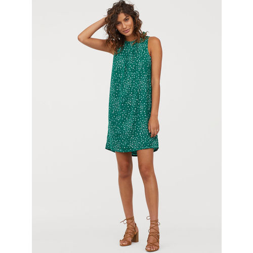 H&M Women Green Printed Dress With Ties