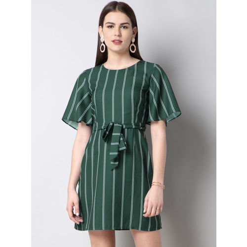 FabAlley Women Green & White Striped A-Line Dress