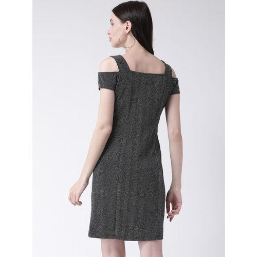 Latin Quarters Women Black Self Design Sheath Dress