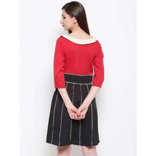 Karmic Vision Women Red & Black Colourblocked A-Line Dress