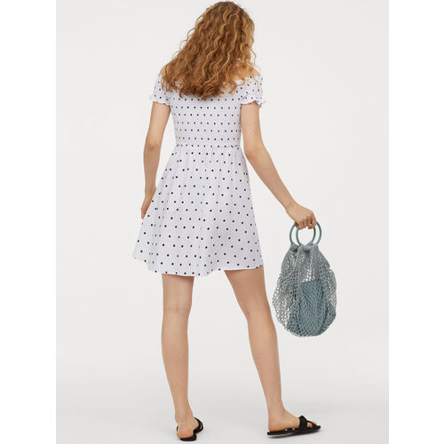 H&M Women White & Navy Blue Printed Off-the-Shoulder Dress