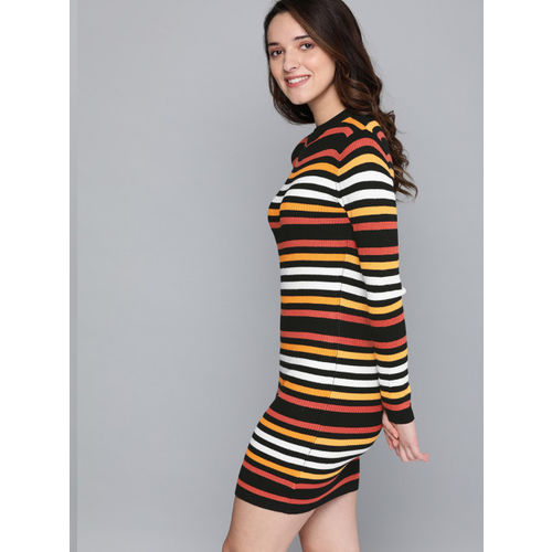 Mast & Harbour Women Black & Mustard Yellow Striped Sweater Dress