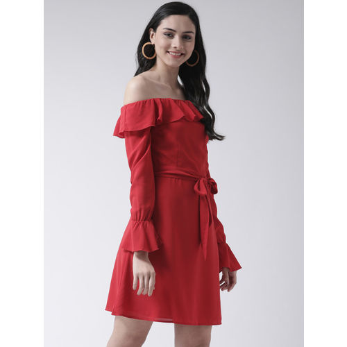 Leo Sansini Women Red Solid Ruffle Fit and Flare Dress