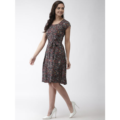 WISSTLER Women Black & Pink Printed Fit and Flare Dress